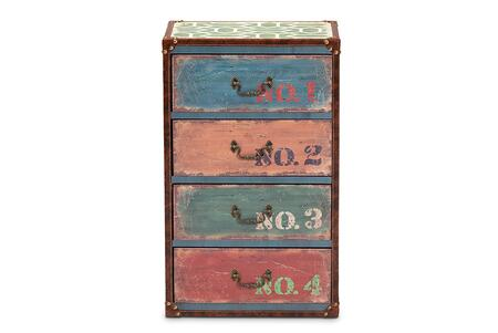 Amandine Collection SJ14512-MULTI-4DW-CHEST 16 Chest with 4 Drawers  Brass Metallic Handles  Faux Leather Covered Edges and Medium-Density