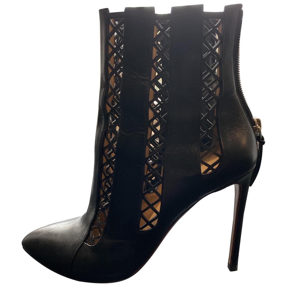 Francesco Russo - Boots   pour femme en cuir - noir