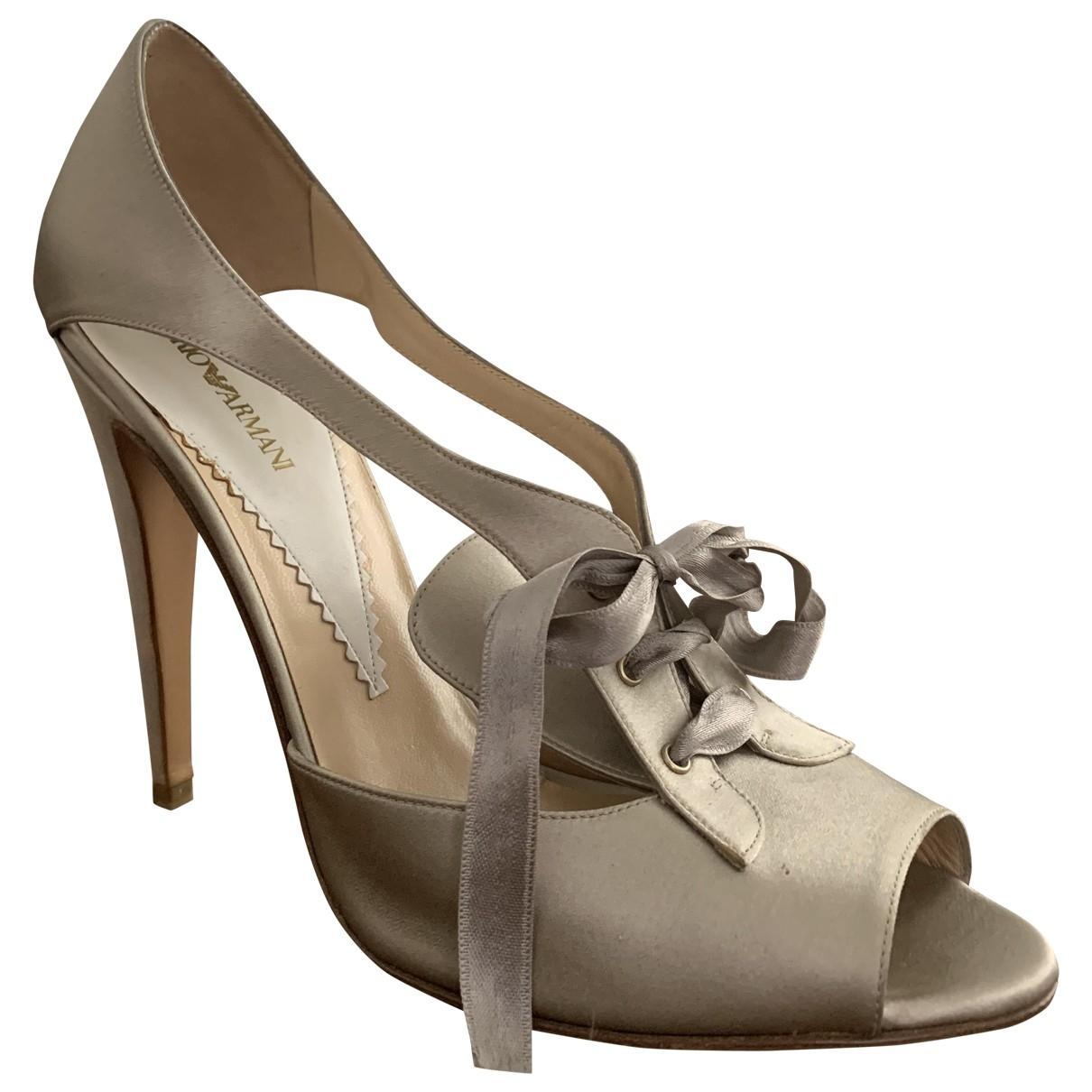Emporio Armani - Sandales   pour femme en cuir - beige