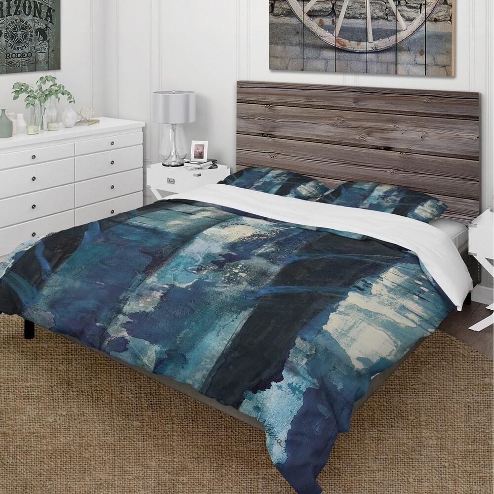 Designart 'Deep Woods I Indigo' Cottage Bedding Set - Duvet Cover & Shams (King Cover + 2 king Shams (comforter not included))