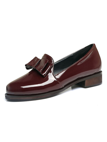 Milanoo Women's Burgundy Loafers Round Toe Bow Slip On Flat Shoes