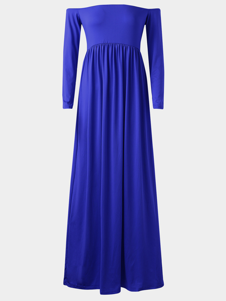 Yoins Off Shoulder High Elastic Maternity Photography Maxi Dress in Blue