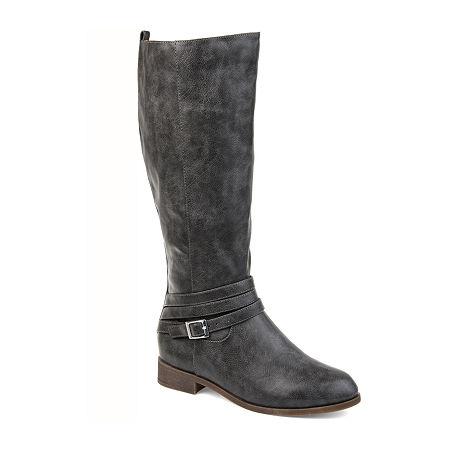 Journee Collection Womens Ivie Stacked Heel Zip Riding Boots, 8 Medium, Gray