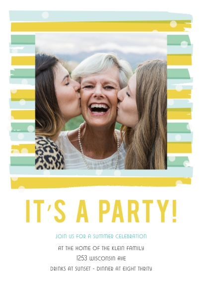Party Invitations 5x7 Folded Cards, Standard Cardstock 85lb, Card & Stationery -Paint & Polka Dot Summer Party