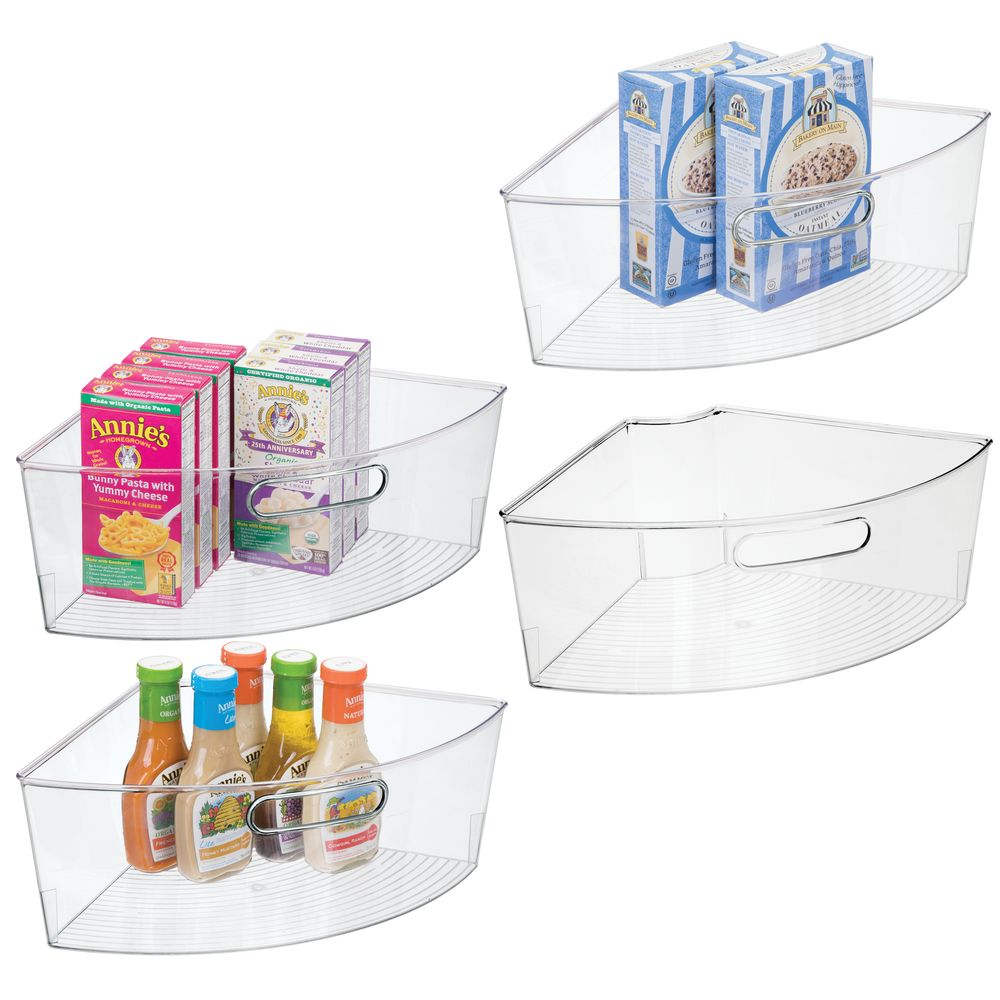 Lazy Susan Kitchen Food Storage Organizer Bin - 1/4 Round in Clear, 15.75