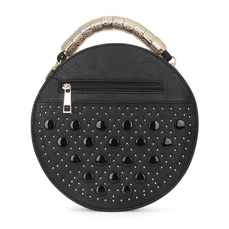 Yoins Black Round Leather-look Handle Bag with Button and Rivet Embellishment