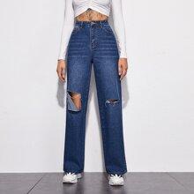 Jeans mit dunkler Waesche, hoher Taille und Riss