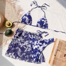 3 piezas bañador bikini triangulo de tie dye con falda playera
