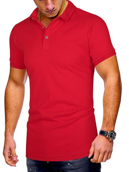 Milanoo Camisa de polo para hombre Cuello abierto Botones de manga corta Tops de verano