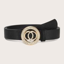 Cinturon con hebilla de doble aro O con diamante de imitacion