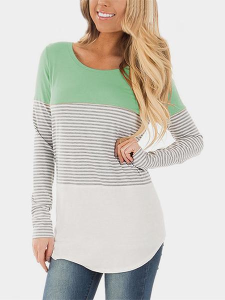 Yoins Green Stripe Round Neck Long Sleeves T-shirts