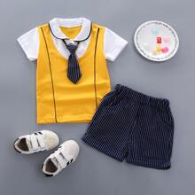 Toddler Boys 2 In 1 Contrast Panel Shirt & Striped Shorts & Tie