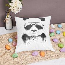 ROMWE x balazssolti Panda Print Cushion Cover