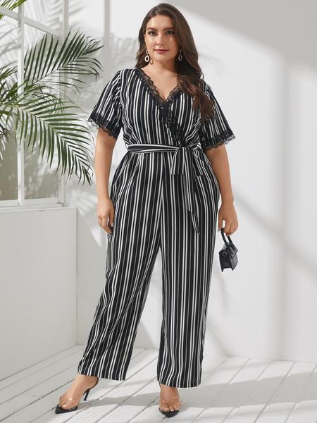 YOINS Plus Size V-neck Striped Wrap Design Belt Design Lace Short Sleeves Jumpsuit