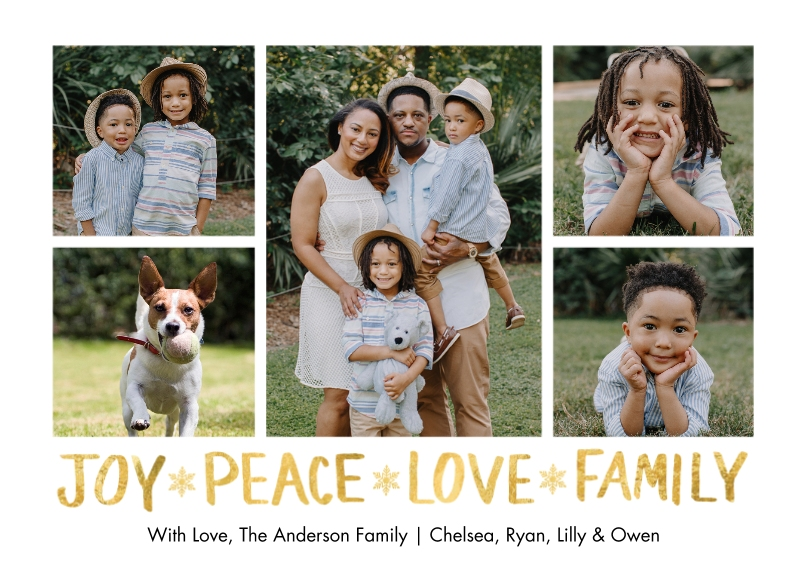 Holiday Photo Cards 5x7 Cards, Premium Cardstock 120lb, Card & Stationery -Holiday Joy Peace Family