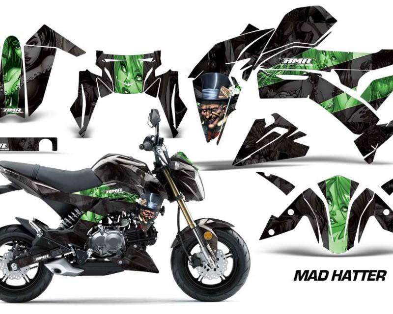 AMR Racing Dirt Bike Graphics Kit Decal Sticker Wrap For Kawasaki Z125 PRO 2017-2018áHATTER BLACK GREEN