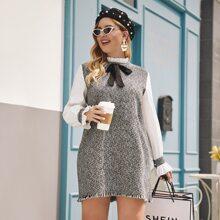 Tweed Tunika Kleid mit Rueschen am Kragen und ungesaeumtem Saum