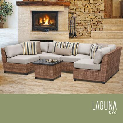 LAGUNA-07c-BEIGE Laguna 7 Piece Outdoor Wicker Patio Furniture Set 07c with 2 Covers: Wheat and