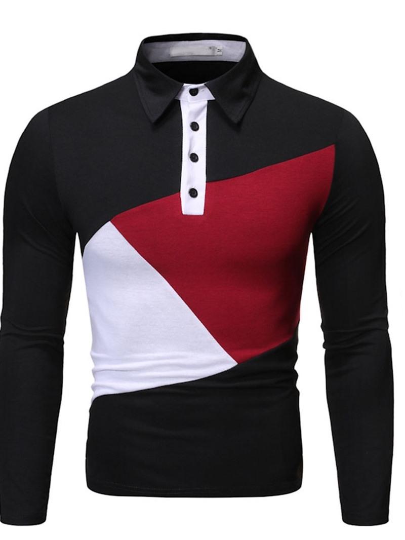 Ericdress Color Block Patchwork Polo Neck Polo Shirt