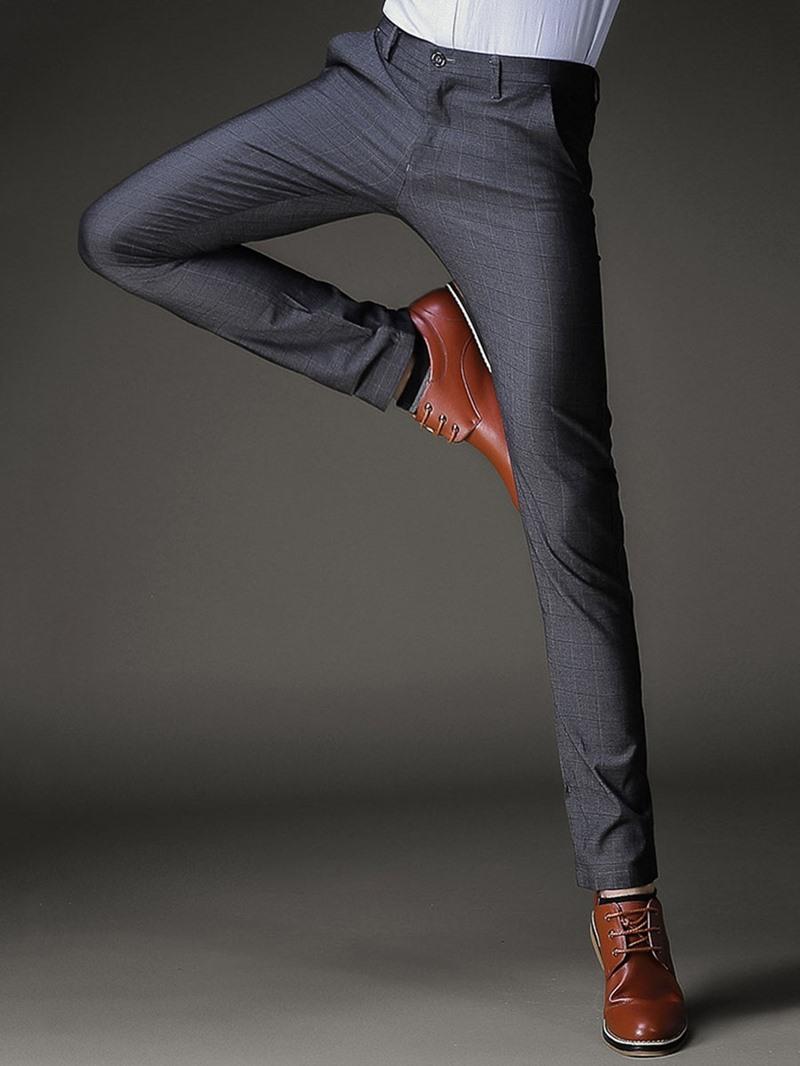 Ericdress Pocket Plaid Slim Vogue Men's Pants