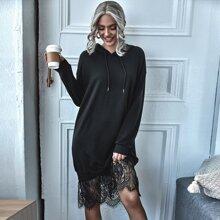 Lace Panel Drawstring Hoodie Dress