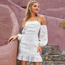 D&M schulterfreies Kleid mit Raffungsaum