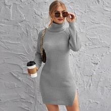 Rolled Neck Raglan Sleeve Split Side Sweater Dress