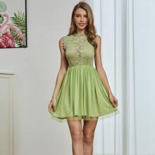 Double Crazy Kleid mit Spitze, Netzstoff ohne BH