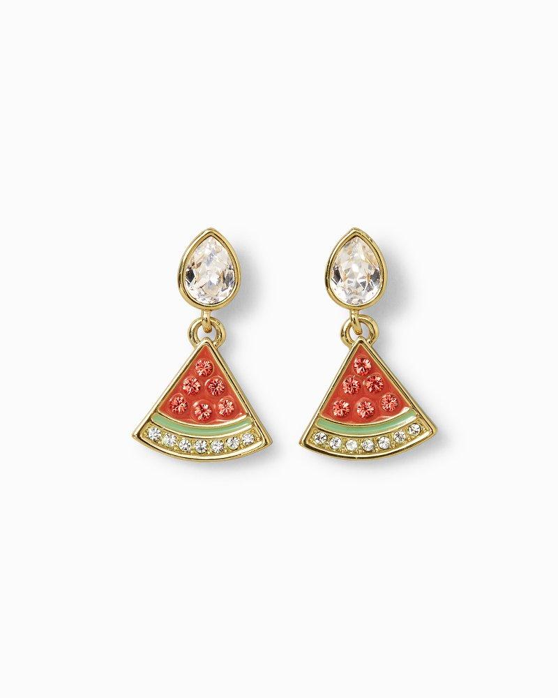 Watermelon Wedge Drop Earrings With Swarovski® Crystals