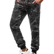 Hose mit Marmor Muster und Kordelzug um die Taille