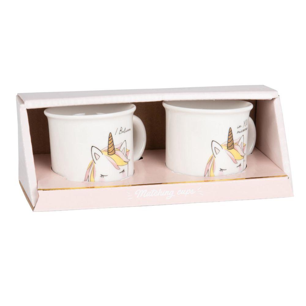 Set aus 2 Porzellantassen, weiss mit aufgedrucktem Einhorn