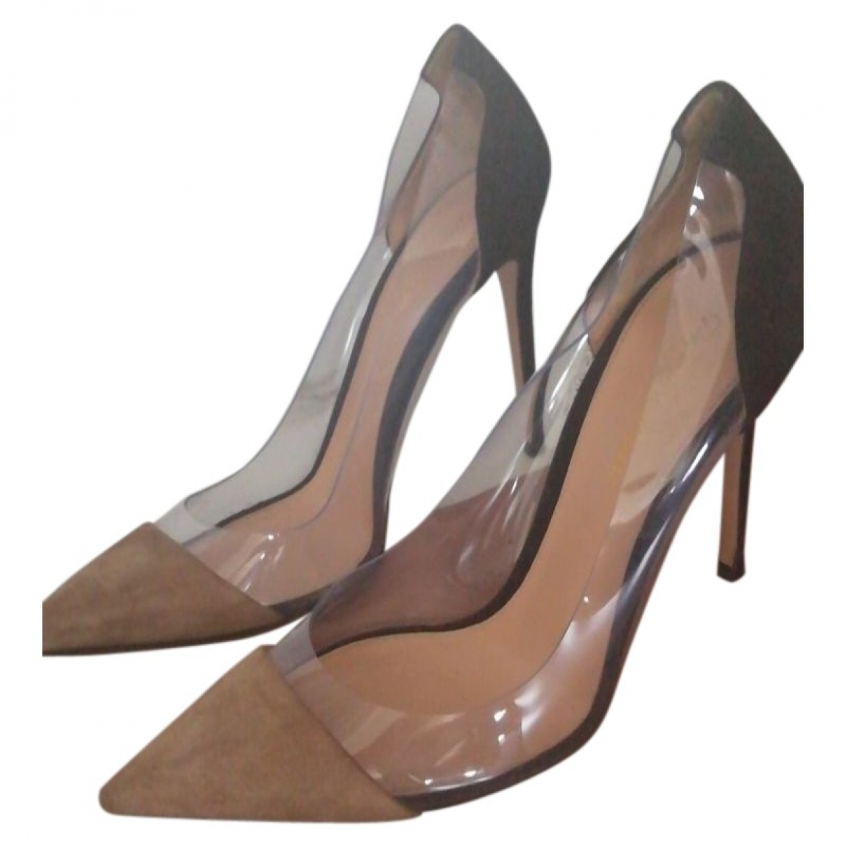 Gianvito Rossi Plexi Camel Heels for Women 39.5 EU