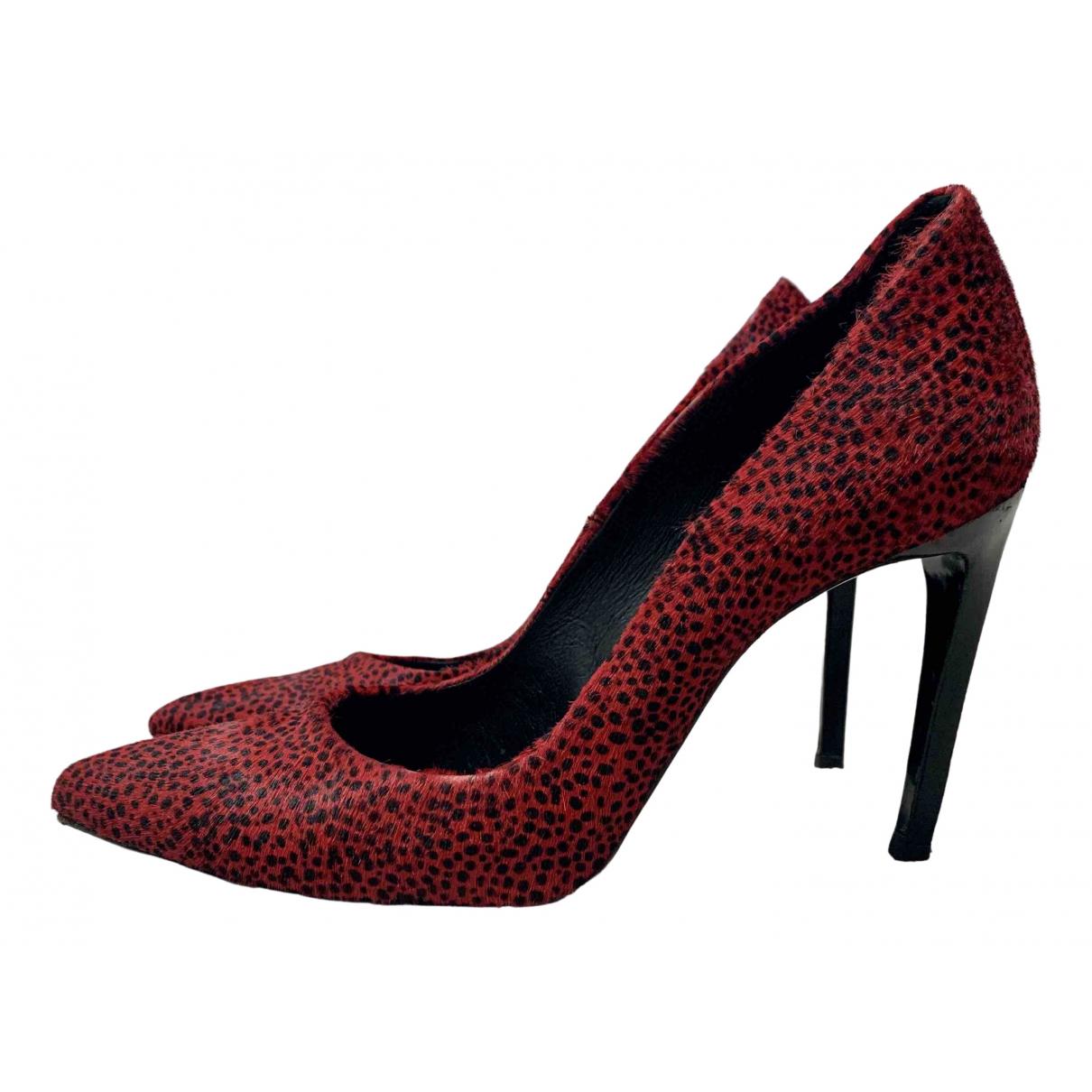 The Kooples - Escarpins   pour femme en cuir - rouge