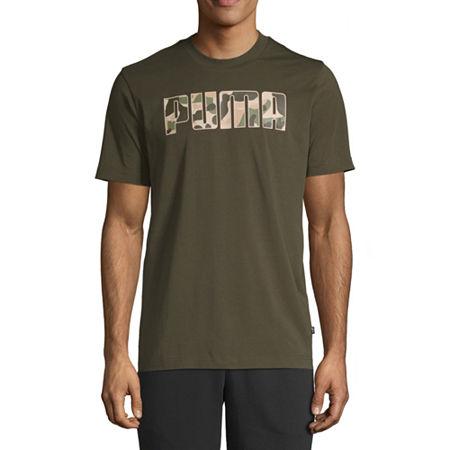 Puma Camo Mens Crew Neck Short Sleeve T-Shirt, Small , Green