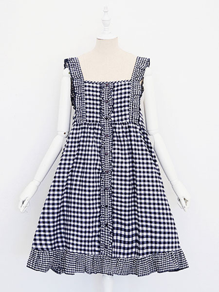 Milanoo Sweet Lolita JSK Jumper Skirt Sleeveless Ruffles Plaid Red Lolita Dress