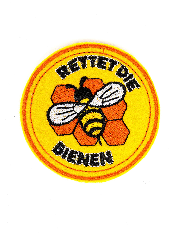 Kostuemzubehor Aufnaeher/Buegelbild Rettet die Bienen 70mm