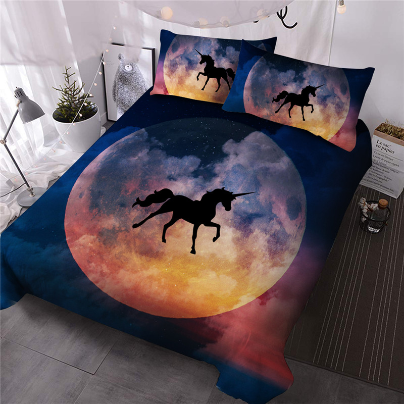 Unicorn Cucoloris Dreamlike Reactive Printing Polyester Three-Piece Set Including 1 Comforter and 2 Pillowcases