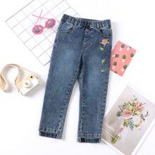 Jeans mit Blumen Stickereien und geradem Beinschnitt