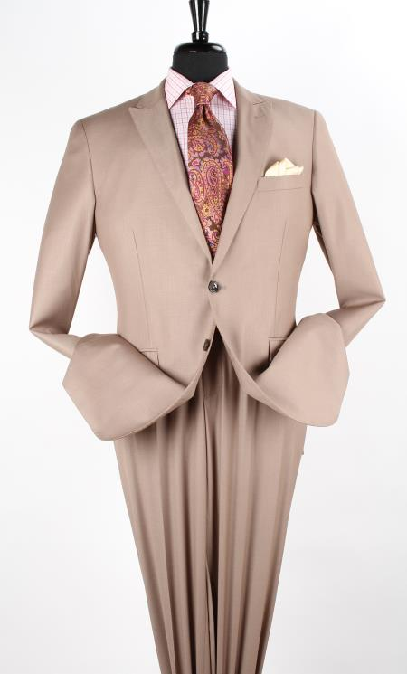 Mens 2 Piece Executive Three Piece Suit with Peak Lapel Taupe