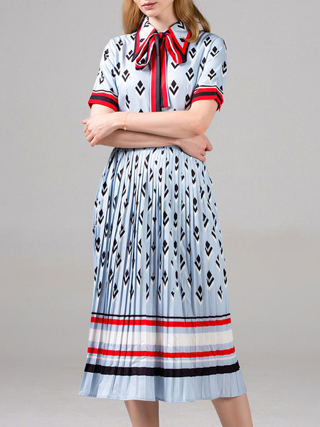 Milanoo Skater Dresses Stripes Turndown Collar Short Sleeves Lace Up Printed Casual Fit And Flare Dress