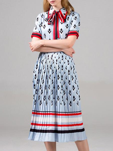 Milanoo Patinador vestidos de rayas de cuello de cobertura de manga corta de encaje hasta Impreso Fit Casual y vestido de la llamarada