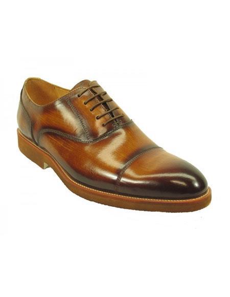 Men's Fashionable Carrucci Genuine Leather Oxford Shoes Cognac