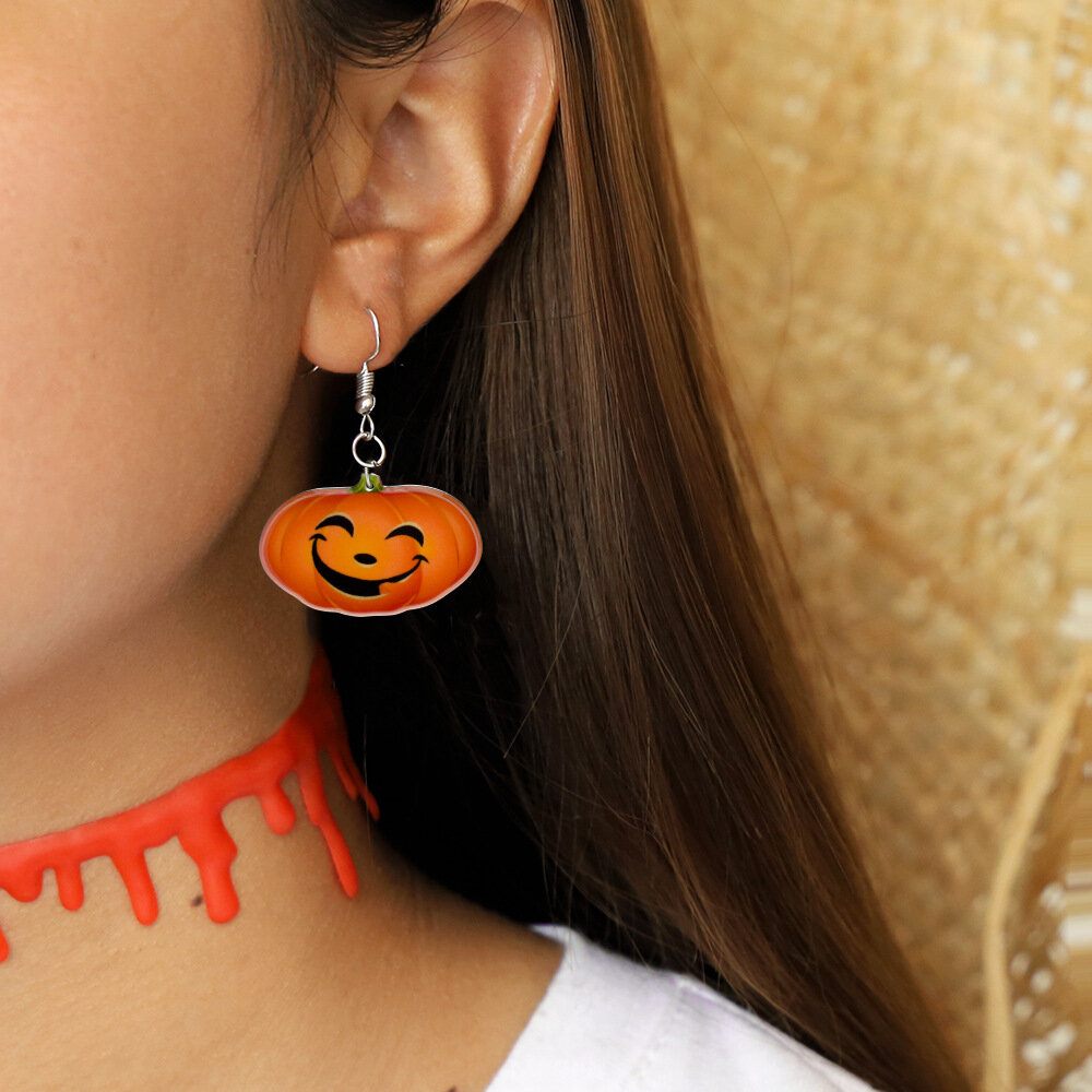 Trendy Pumpkin Smile Pendant Earrings Funny 3D Stereoscopic Halloween Resin Cartoon Earrings
