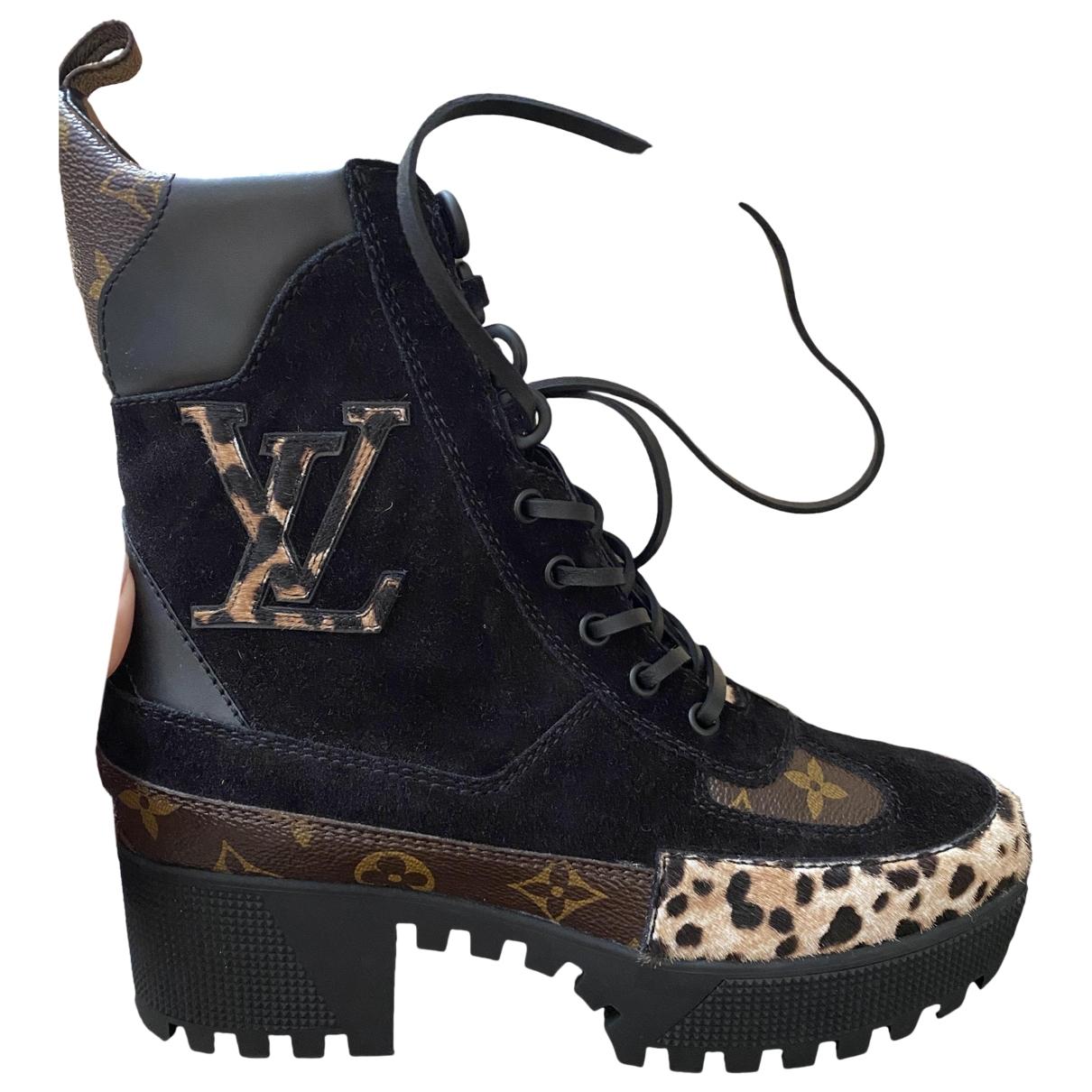 Louis Vuitton Laureate Black Suede Ankle boots for Women 38 EU