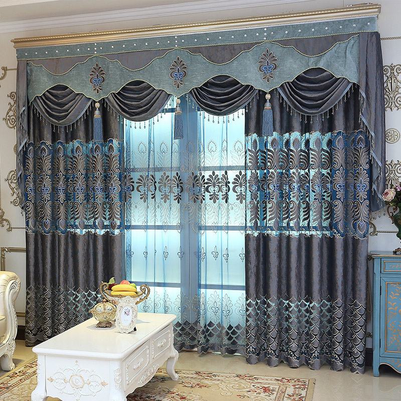 Luxury and Elegant Custom Embroidered Hollowed-out 2 Panels Blackout Curtain Drapes for Living Room No Pilling No Fading No off-lining