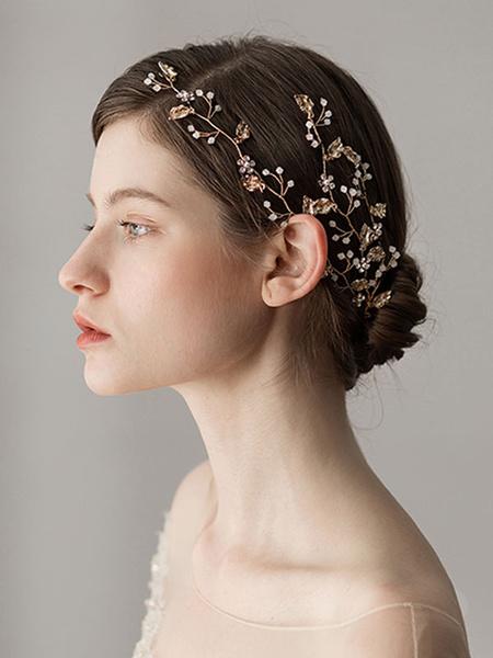 Milanoo Accesorios para el cabello de novia cascos de hoja de oro