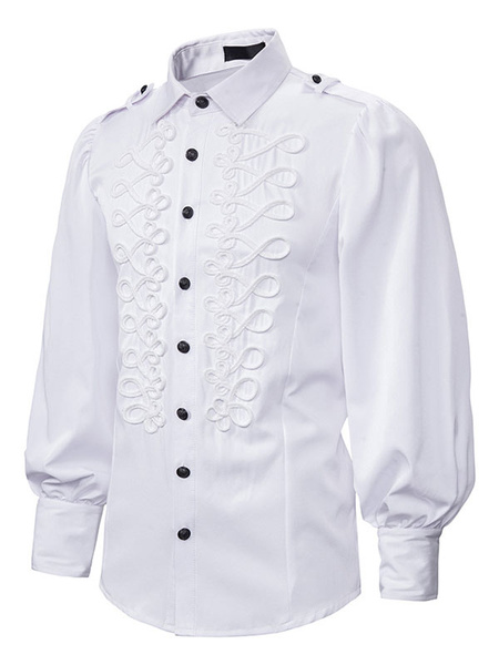 Milanoo Victorian Shirt Medieval Steampunk Long Sleeve Men Shirt