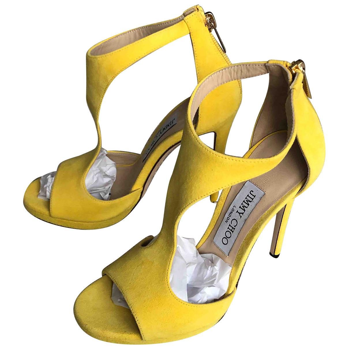 Jimmy Choo - Sandales   pour femme en suede - jaune