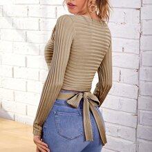 Tie Back Rib-knit Sweater