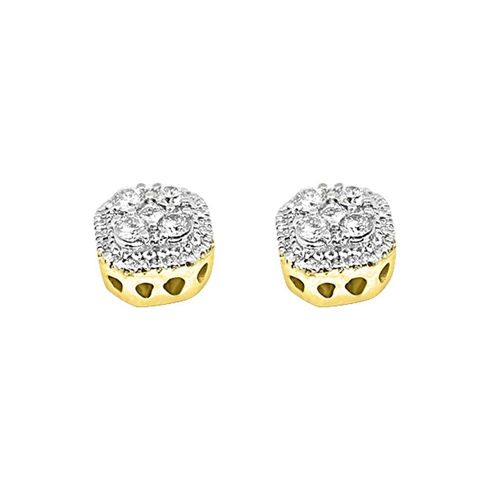 14K Yellow Gold 0.50 Carats Diamond Custom Ice Earrings